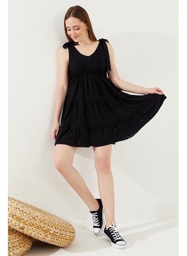 Reyon REYON Kadın Sıfır Kol Mini Elbise Siyah Siyah